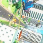Goku et Bills survolant la ville